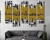 "Customizable! Original skyline painting. 41x64"" 5 piece canvas art. London skyline. Gold painting. Modern wall art. London art."