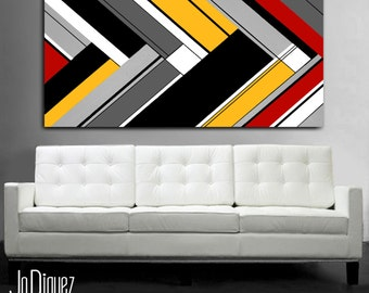 """Original geometric painting. 24x48"""" Abstract canvas art with red and yellow. Modern wall art. Large painting."""