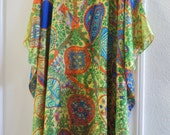 Multi Print Silk Caftan,  Womens Silk Kaftan,  Silk Dress,  Silk Tunic, Silk Blouse