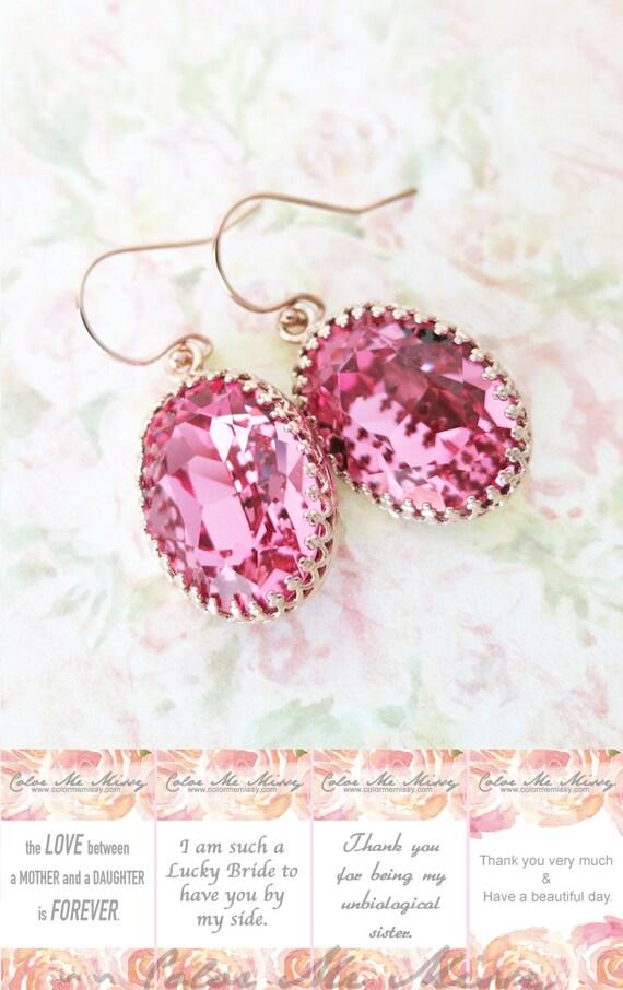 Rose Gold FILLED Swarovski Rose Pink Oval Crystal Earrings, grey wedding bridal earrings, bridal bridesmaid gifts, pink gold weddings