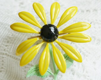 Vintage Yellow Enamel Daisy Brooch Pin with Black Center, Green Stem and Leaves, Summer Flower for Her