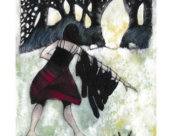 Girl With A Wing, Print. Fine Art Print. A Woman Transforming, Original Art Print. Shapeshifter Art.