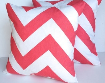 Two zigzag pillow covers, cushion, decorative throw pillow, nautical decor, coral pillow, 18x18