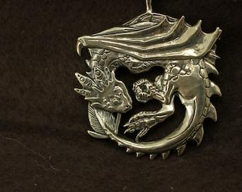 Wyvern dragon bronze pendant necklace