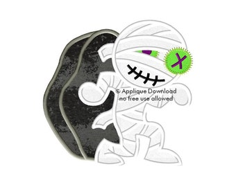 Zombie Mummy Halloween Applique Design - Instant EMAIL With Download - for Embroidery Machines