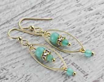 Light blue amazonite, Swarovski, and gold filled earrings, light earrings