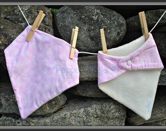 Spring Butterflies on Pink Bandanna Baby Bib