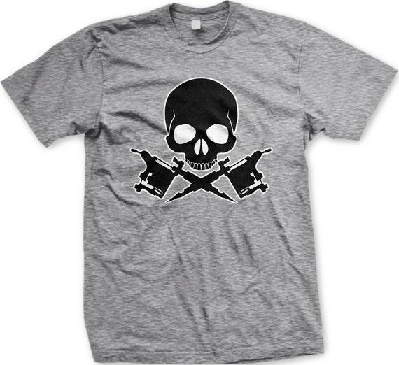 Skull Tattoo Machine Men's Tattoo T-shirt Tattoo Machine