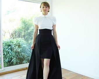 Navy maxi skirt, maxi skirt with pockets, high waisted maxi skirt, ballgown skirt, high low skirt, hi lo skirt, overskirt