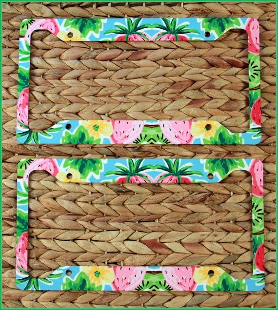 Shop Floral Monograms At Littlebrownnest Etsy Com: Floral Preppy Lilly Inspired Monogram License Plate Frame