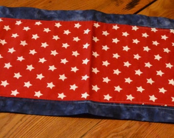 Homemade Table Runner, Red, White, Blue, Home decor, Made in Michigan, Stars