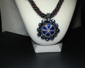 Magnificent Silver, Raspberry and Royal Blue Bead, Crystal and Glass Button necklace.
