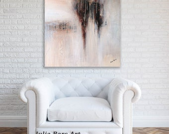 Large Abstract Painting, 30x30, Neutral Abstract Art, Gray Painting, Brown Painting, Textured Acrylic Painting, Original Artwork by Julia