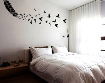Feather wall stencil large, Reusable feather stencil with birds