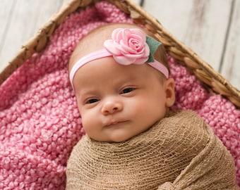 Pink Rose Headband, Baby Pink Headband, Pink Rosette Headband, Pastel Pink Headband, Newborn Photo Prop, Baby Shower Gift, Newborn Headband