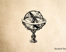 Globe on Stand Rubber Stamp - 2 x 2 inches
