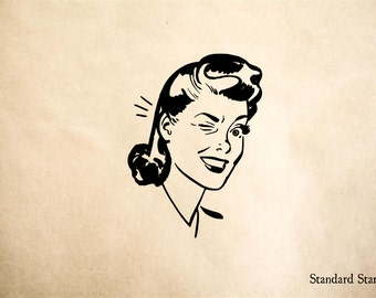 Winking Woman Rubber Stamp - 2 x 2 inches