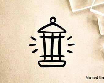 Lantern Cartoon Rubber Stamp - 2 x 2 inches