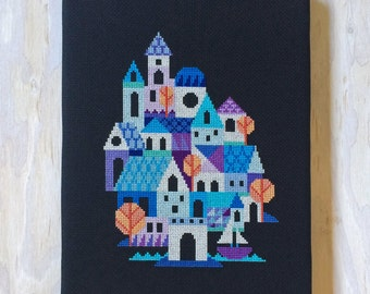Blue Village - Satsuma Street modern cross stitch pattern PDF - Instant download