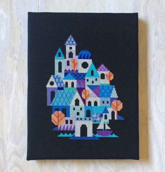 Blue Village - modern cross stitch pattern PDF - Instant download