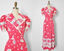 Vtg 1940's Pink Cotton House Dress with Cats and Dogs Print • Lounging Robe • Boudoir Robe