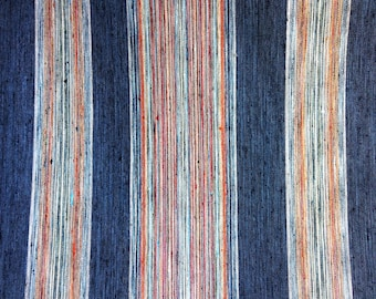 Upholstery Fabric by the Yard Indigo Stripe Orange Green Navy Light blue Bohemian home decor fabric-KNNC