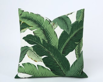 One Beverly Hills Banana Leaf Zipper Pillow Cover Leaves Outdoor Martinique Pillow Dark Green 12x18 20x20 22x22 Lumbar Pillow cover-6FL5