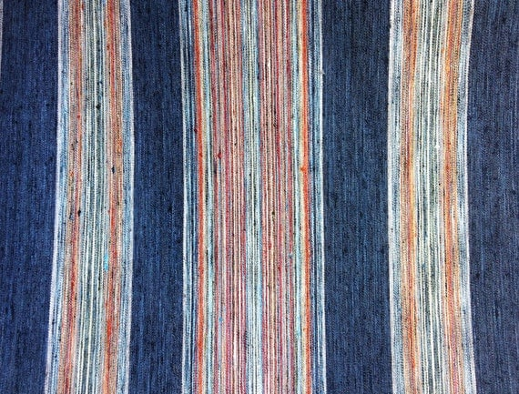 Woven Upholstery Fabric By The Yard Indigo Stripe Orange Green