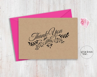 Thank You Card 5x3.5 - Instant Download - Printable - Thank-you Card. Various sizes available