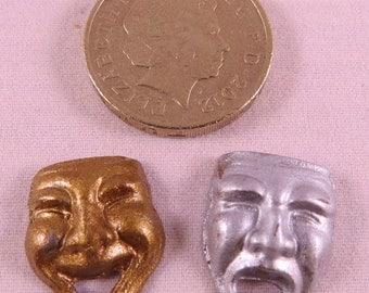 Hand Painted Metal Dolls House Miniature Comedy and Tragedy Masks
