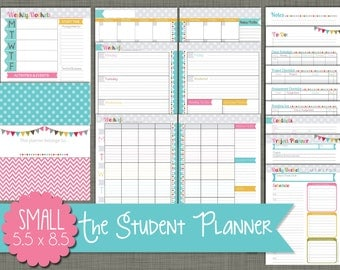 "Student Planner {Printable} Set - Sized Small 5.5"" x 8.5"" PDF - Signature Design - Undated"