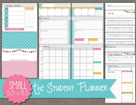 student planner printable set sized small 5 5 x