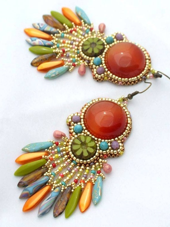 Beaded earrings tutorial bead embroidery