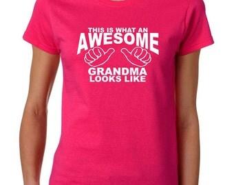 Gifts for Grandmothers Christmas Gift for Grandmother Personalzied Grandmother Gifts This is what an AWESOME GRANDMA Look like tshirts