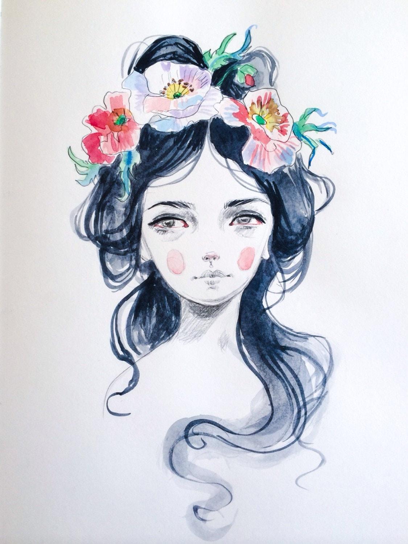Flower Crown original drawing by JulieFilipenko on Etsy