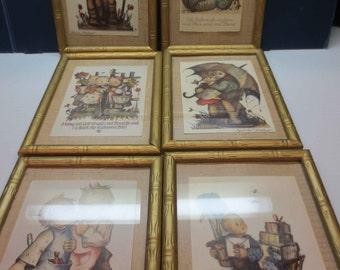 Six Professionally Framed Hummel Postcards From the 1930's With Bonus Hummel Clock