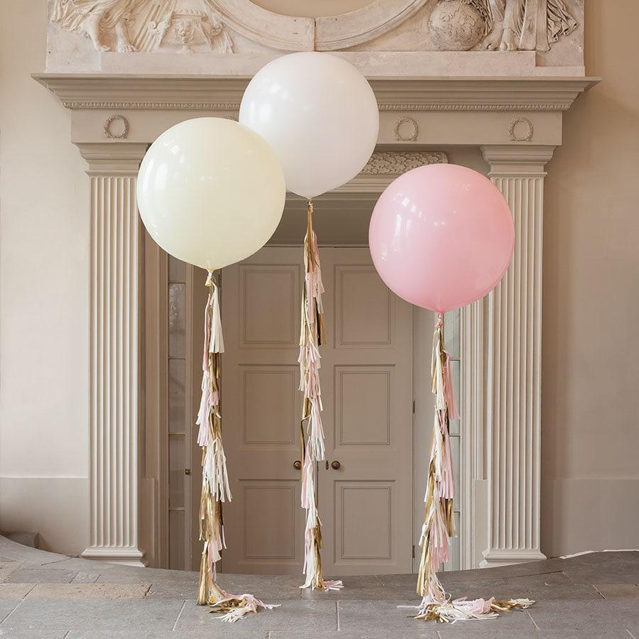 Giant round balloon with tassel garland tail