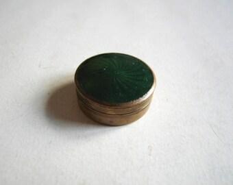 antique brass green guilloche enamel box