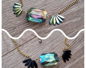 Black Swan- Reversible Iridescent Crystal Adjustable Necklace