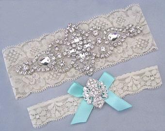 Wedding Garter Ivory White Bridal Set Something Blue Aqua