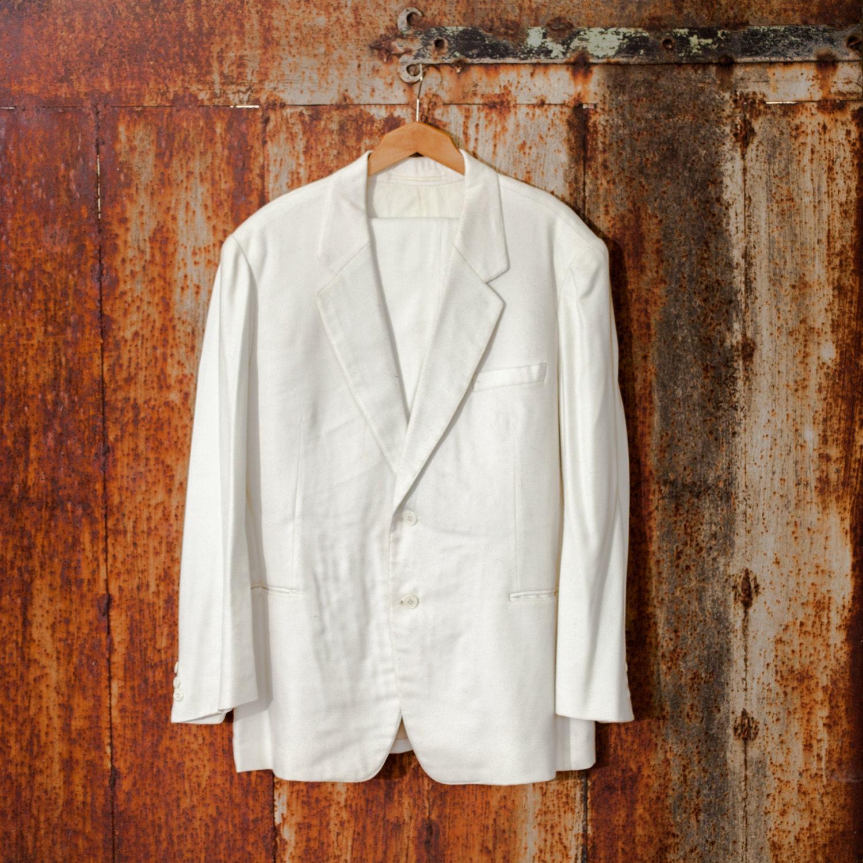vintage herren anzug wei e baumwolle anzug slim fit anzug. Black Bedroom Furniture Sets. Home Design Ideas
