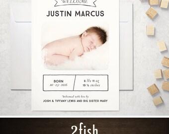 Rustic Birth Announcement / Birth Announcement Cards / Newborn Announcement Cards - Printed or Printable, 4x5.5 or 5x7 (Scroll)