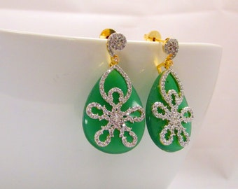 Green Glass  CZ Studded Statement Earrings