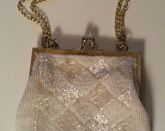 Vintage 1960's White Beaded Handbag Purse