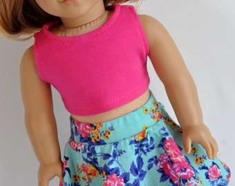 Teal Floral Skater Skirt with Pink Crop Top 18 inch Doll Clothes made to fit dolls such as American Girl