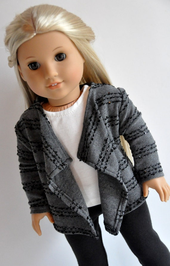 Gray with Sequins Cascade Jacket Sweater Kimono 18 inch Doll Clothes