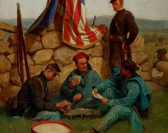 "Julian Scott : ""A Break - Playing Cards"" (1881) - Giclee Fine Art Print"