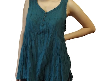 Women's Hippie Boho Loose Fit Summer Tank Top with Back Lace Dark Green