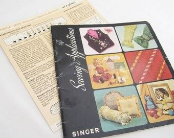 Singer Sewing Applications Book 1975 With Athena 2000 Handy Guide Sheet