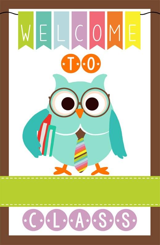 Classroom Welcome Decor : Owl theme classroom decor teacher welcome sign magnet
